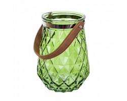 Подсвечник (стекло) D16*H22см зеленый
