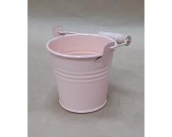 Кашпо Три линии Ведерко с деревянной ручкой (металл) D7,5*H7см розовый