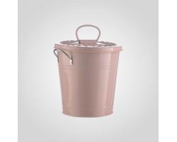 Кашпо-ведерко с крышкой (металл) 19*15*19см розовый арт.YJ16-689-2