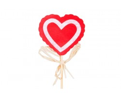 Вставка Сердце красное с белым контуром 5см DK378 шт.