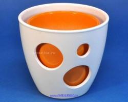 Горшок ВК из 2-х 16-13см белый+оранжевый