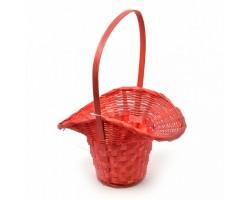 Корзина плетеная (бамбук) Шляпа D18*H5,5/29см красный