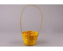 Корзина плетеная (бамбук) D13*H9.5/28см желтый