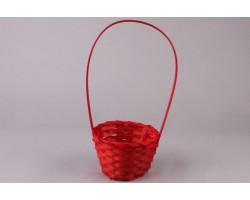 Корзина плетеная (бамбук) D13*H9.5/28см красный