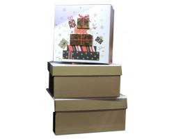 Набор коробок (картон) 524/Х40 из 3 квадратов эффект Гора подарков 15,5*15,5*7,5см - 20*20*9,5см