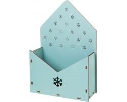 Кашпо-конверт Снежинки (дерево) 17*6,5*25,5см голубой