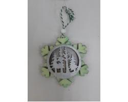 Елочное украшение Снежинка 10,5см (дерево) ментоловый 5500010311467
