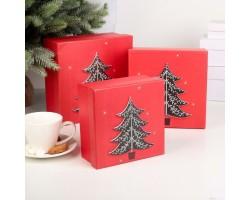 Набор коробок подарочных Ёлка (3шт) 20*20*9,5см - 15,5*15,5*7,5см арт.2437303