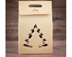 Коробка подарочная Сумка с ёлкой 24*13,5*40см бурый арт.2704126