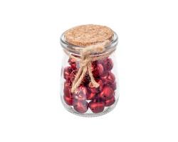 Набор колокольчиков в банке (стекло/металл) 1,5см 36шт.H8см золото+серебро+красный арт.CAA212500