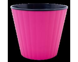 Вазон Ибис с двойным дном 13*11,2см 1,0л темно-розовый+черный