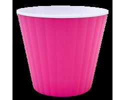 Вазон Ибис с двойным дном 13*11,2см 1,0л темно-розовый+белый