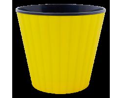 Вазон Ибис с двойным дном 13*11,2см 1,0л темно-желтый+черный