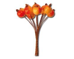 Плоды шиповника оранжевый+желтый на проволочной вставке 2,5см (6пуч.в упак.) арт.ИС005196