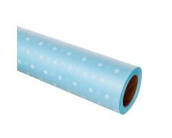 Фетр ламинированный Горох 60см*10м голубой+белый