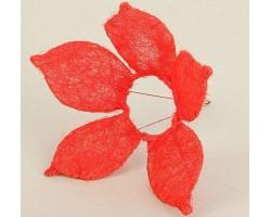Каркас для букета Цветок с острыми лепестками (сизаль) 25см красный
