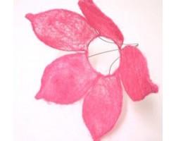 Каркас для букета Цветок с острыми лепестками (сизаль) 25см розовый