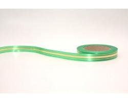 Лента п/п 2см*45м золотая полоса зеленый