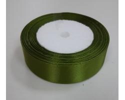 Лента декоративная 25мм*22м атлас одностор.темно-зеленый