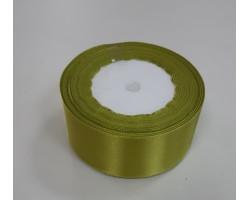 Лента декоративная 38мм*22м атлас односторонний желто-зеленый