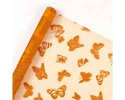 Органза с флок.рисунком Бабочки 70см*9м оранжевая