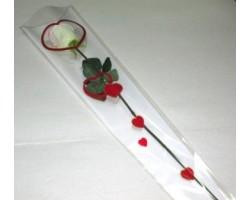 Конус на 1 розу Сердца 15*80см (упак.50шт) белый+золото+красный