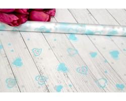 Пленка CartaPack Валентинки 70см бирюзовый+серый
