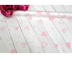 Пленка CartaPack Валентинки 70см розовый+серый