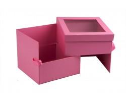Коробка для цветов и конфет (двойное дно) Квадрат 26*26см с окном розовый арт.63674