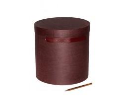 Коробка для цветов 212/025 круглая D24*24см крафт шато бордо