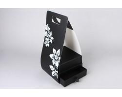 Коробка для цветов и конфет (двойное дно) Квадрат 20*10*13,7см с переноской черный арт.64311
