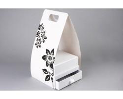 Коробка для цветов и конфет (двойное дно) Квадрат 20*10*13,7см с переноской белый арт.64312