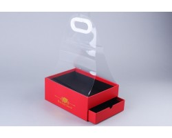 Коробка для цветов и конфет (двойное дно) Квадрат 25*18*10см с прозр.переноской красный арт.64317