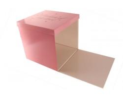 Коробка для цветов Куб 40*40*40см для сюрприза розовый арт.65681