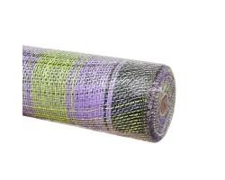 Сетка бурлап Клетка 54см*10ярд сиреневый+зеленый арт.PBC-10